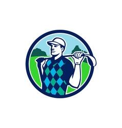 Golfer golf club shoulders circle retro vector