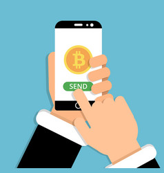hand holding smartphone with bitcoin symbol on vector image