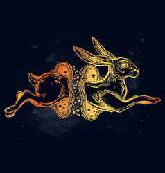 hare or rabbit jumping through the magic wormhole vector image vector image