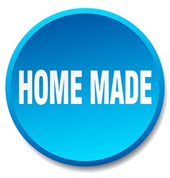 Home made blue round flat isolated push button vector