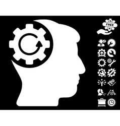 Intellect gear rotation icon with tools vector