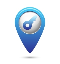 Key icon on blue map pointer vector