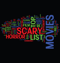 List of scary movies text background word cloud vector