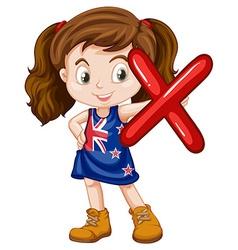 Little girl holding letter X vector image vector image