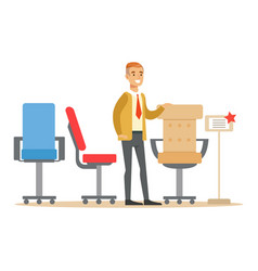 man choosing comfortable office armchair smiling vector image vector image