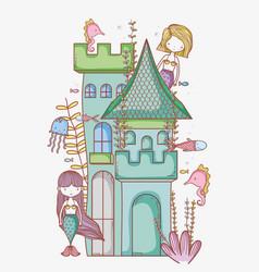 mermaid on castle cute cartoon vector image vector image