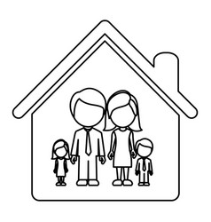 monochrome contour of faceless family group in vector image vector image
