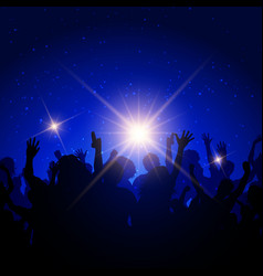 Party crowd on night sky background vector
