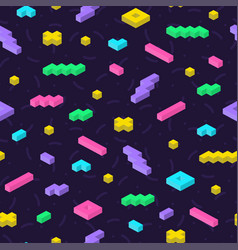 Retro memphis seamless pattern in bright colors vector