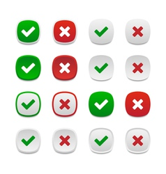 Rounded square validation buttons vector