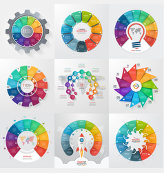 Set of 9 circle infographic templates with 11 vector
