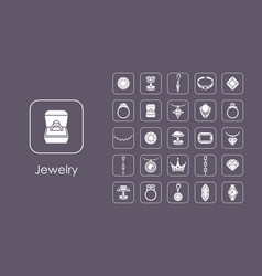 Set of jewelry simple icons vector