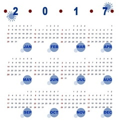 Simple template of 2017 calendar vector image vector image