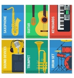 Six flat banners musical instruments vector image vector image