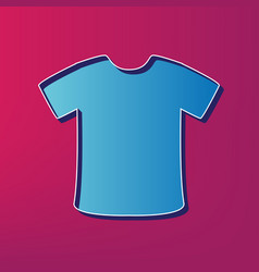 T-shirt sign blue 3d printed icon on vector