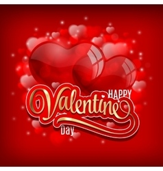 Valentines day greeting with red heart baloons and vector image vector image