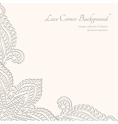 Vintage lacy corner ornament vector image vector image