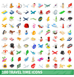 100 travel time icons set isometric 3d style vector