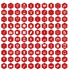 100 webdesign icons hexagon red vector