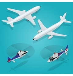 Passenger Airplane Passenger Helicopter vector image