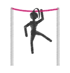silhouette girl athlete gymnastic with bar vector image