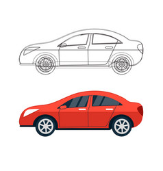 set of car silhouettes outlines contours vector image
