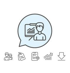Presentation line icon education sign vector