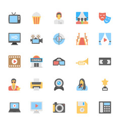 Multimedia flat colored icons 3 vector