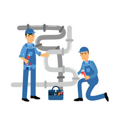proffesional plumber men characters repairing and vector image