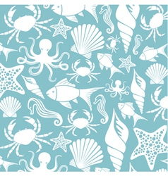 Sea life seamless pattern vector