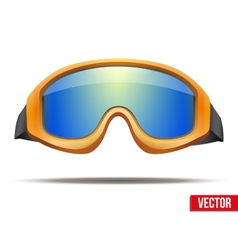 Classic orange snowboard ski goggles with colorful vector