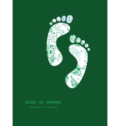 Abstract blue and green leaves footprints vector