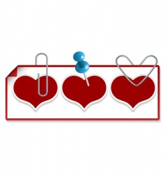 Clipped hearts vector