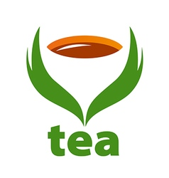 Logo tea and green leaves vector