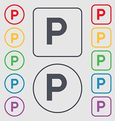 Parking icon sign symbol on the round and square vector