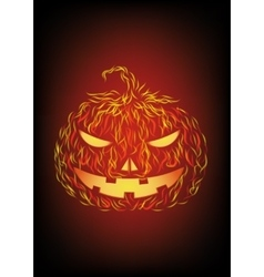 Halloween pumpkin in fire vector