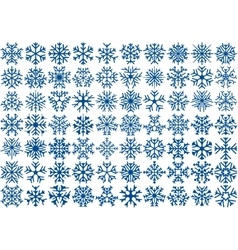 Set of 70 snowflakes vector