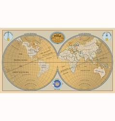 Old globe map of world with discoveries of 1799 vector