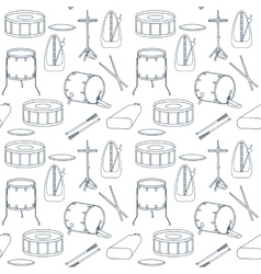 Seamless line pattern with drums Flat design vector image
