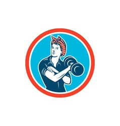 Bandana woman lifting dumbbell circle retro vector