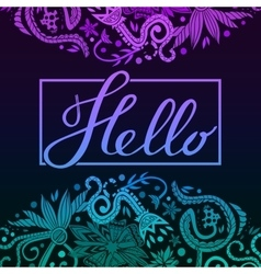 Hello border blue and purple dark vector