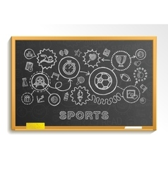 Sport hand draw integrated icons set on school vector