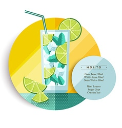 Mojito cocktail drink recipe design in flat art vector