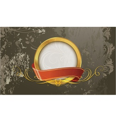 grunge gold label vector image