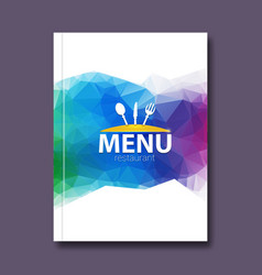 Trendy triangular restaurant menu design cover vector