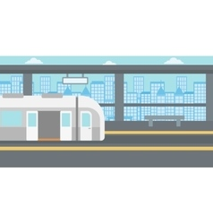 Background of modern train at the station vector image