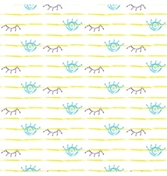 Brush stroke seamless yellow stripes and eyes vector