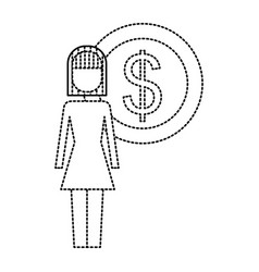 businesswoman dollar coin money symbol vector image