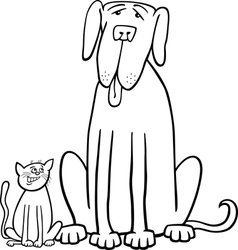cat and dog cartoon for coloring book vector image vector image