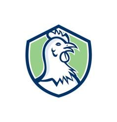 Chicken hen head side shield cartoon vector